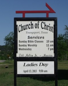 Church Frontage Road Sign with Ladies Day Announcement